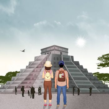 illustration of couple traveling in Mexico