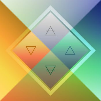 Four nature elements scheme with contour triangles in colorful blurred rhombuses