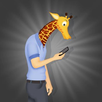 concept of a man with a giraffe's neck because he is on his cell phone