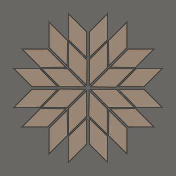 Symmetric polygonal beige star of 24 rhombuses on grey background