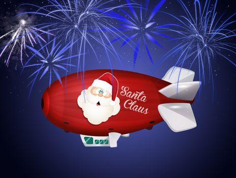 illustration of airship of Santa Claus