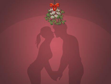 illustration of kiss under the mistletoe on New Year's Eve