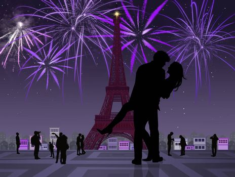 illustration of couple kissing in Paris