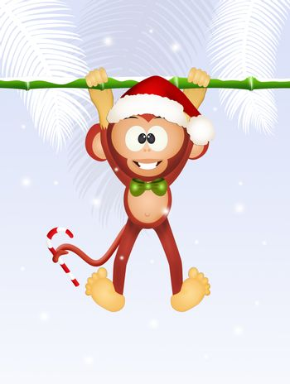 illustration of cute monkey at Christmas