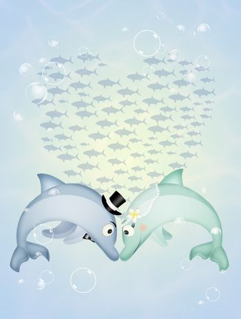 illustration of dolphins in love