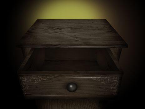 illustration of open drawer