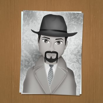 illustration of identikit drawing of man