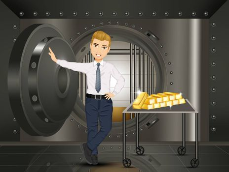 illustration of gold bars in the bank security safe