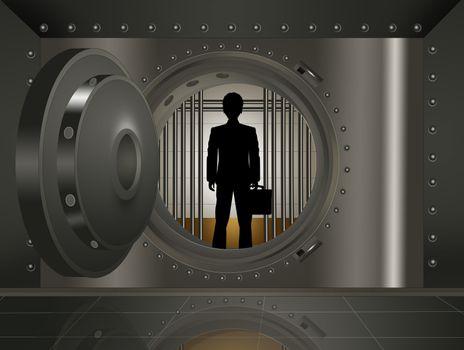illustration of businessman in the bank security safe