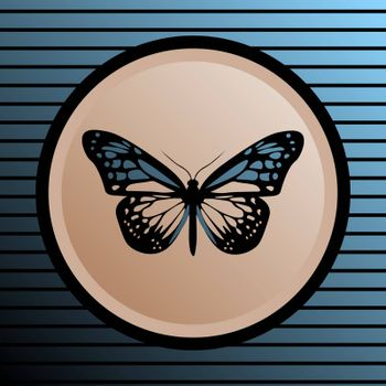 Realistic blue butterfly in blurred beige circle on striped background