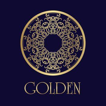 Filigree golden emblem in eastern style with ornate mandala on dark blue background