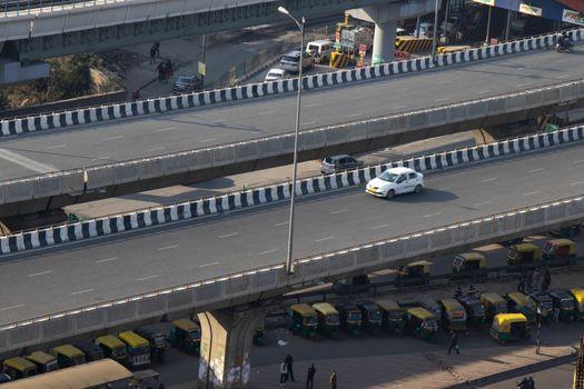 Elevated road highway asphalt road junction and interchange overpass