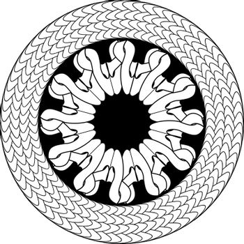 Black and white circle with abstract flower and rope frame in celtic style