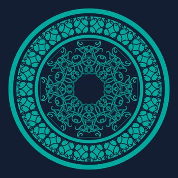 Elegant blue circle with abstract lace mandala in oriental style