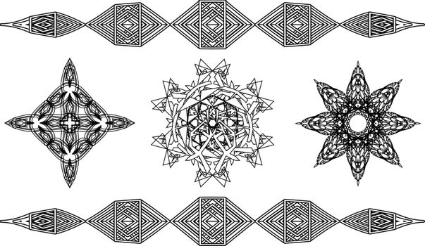Set of three contour symbols in ancient style: cross, geometric mandala and flower