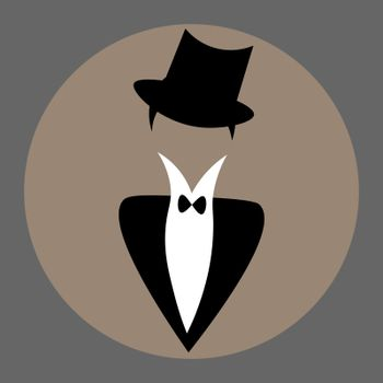 Vintage faceless man in shirt and tuxedo with bow-tie and cylinder