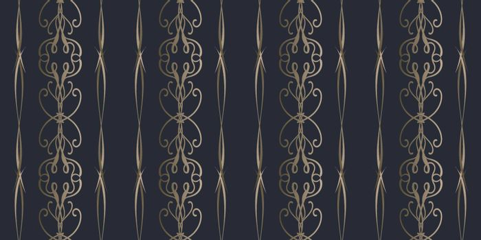 Elegant seamless pattern with golden filigree tracery in victorian style