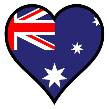 Australia within a heart all over a white background