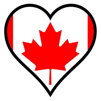 Canadian flag within a heart all over a white background