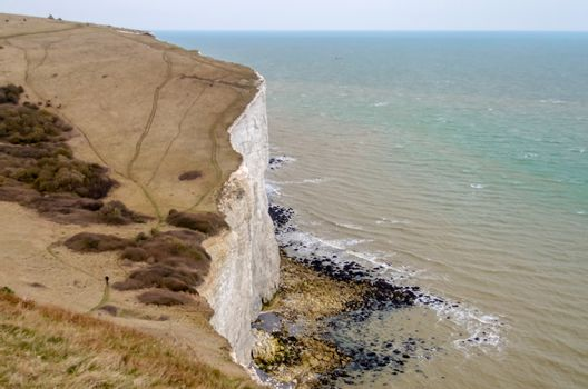 The white cliffs of Dover facing continental Europe on the English Channel, UK