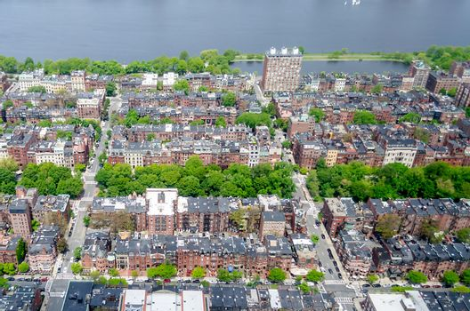 Aerial view of the Back Bay district in central Boston, USA