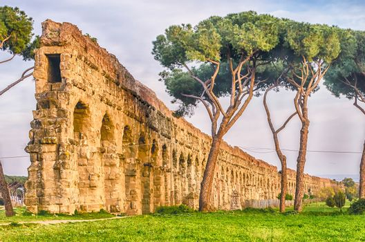 Ruins of the iconic Parco degli Acquedotti, Rome, Italy. The public park is named after the 7 ancient aqueducts that go through it