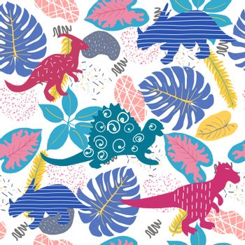 Vector Hand drawn Cute Tropical seamless leaves and Animals silhouette at the savannah pattern.