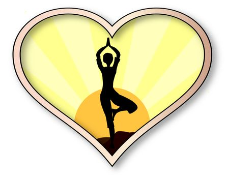 A woman in silhouette practicing yoga inset into a isolated pink heart over a white background