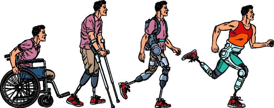 Evolution of rehabilitation. man leg prosthesis