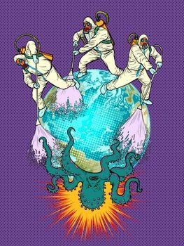 doctors disinfection planet epidemic. pandemic epidemic coronavirus covid19
