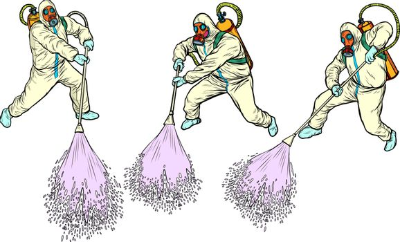 epidemic protection suits disinfection. pandemic epidemic coronavirus covid19 Pop art retro vector illustration vintage kitsch 50s 60s style