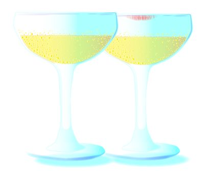 Two glasses of champagne set on a light blue background.