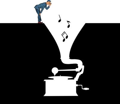 Music. A man listens to an old vinyl gramophone. Pit silhouette. Pop art retro vector illustration 50s 60s style