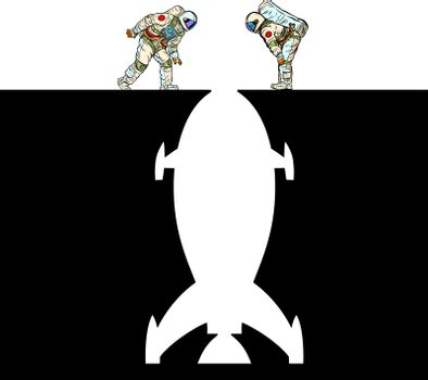 astronauts and rocket. Space exploration. Pit silhouette. Pop art retro vector illustration 50s 60s style