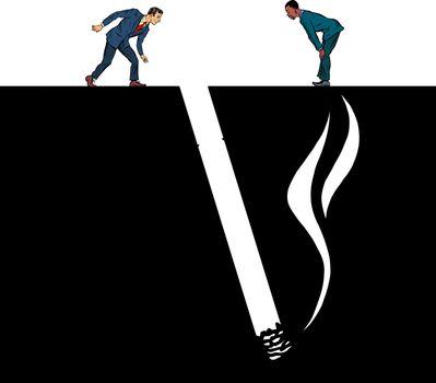 smoking cigarette, smoking harmful. Pit silhouette. Pop art retro vector illustration 50s 60s style