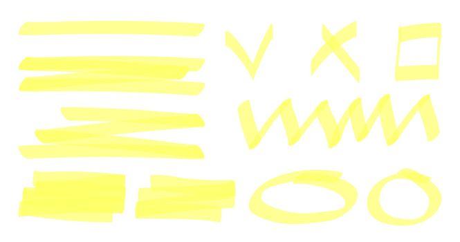 Marker highlighter elements. Hand drawn shape line