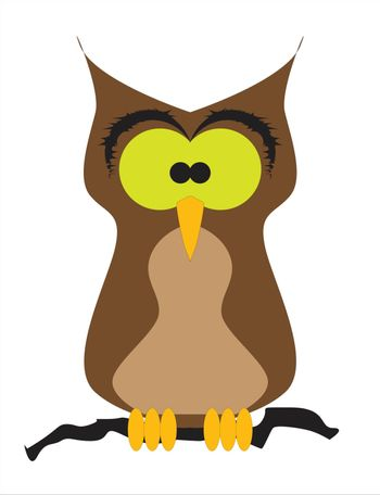 A cartoon comic staring owl figure perched on a branch on a white background