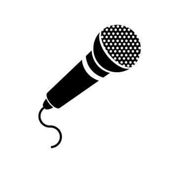 Retro Microphone Icon Isolated on White Background.