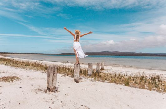 Female joy freedom live life to the full travel beach concept