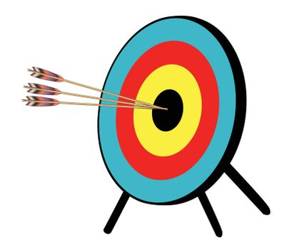 3 arrows hitting the target black bullseys over a white background