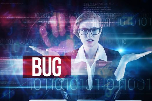 The word bug and businesswoman holding hand out in presentation against pink technology hand print interface design