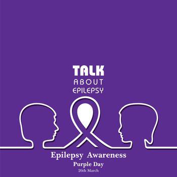 Vector illustration for World epilepsy day (Purple day) - Epilepsy Awareness-26 march. Purple ribbon.