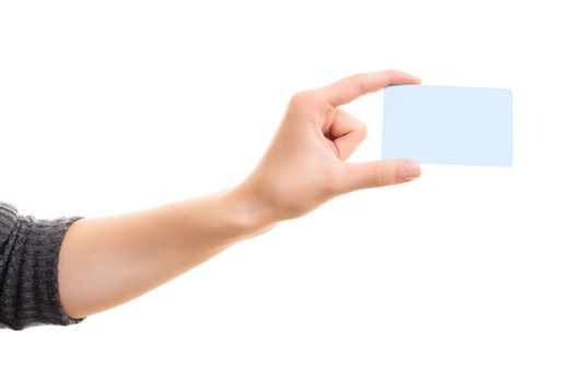 Human hand holding a blank white card mock up, isolated on white background. Business communication and advertising concept. Hand holding a plain call-card mock up template.