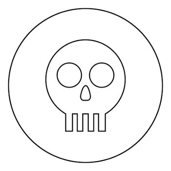 Human skull Cranium icon in circle round outline black color vector illustration flat style image