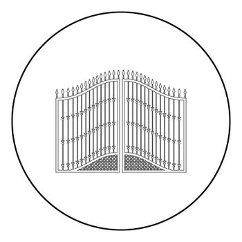 Forged gates icon in circle round outline black color vector illustration flat style image