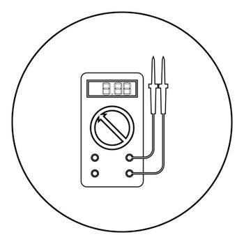 Digital multimeter for measuring electrical indicators AC DC voltage amperage ohmmeter power with probes icon in circle round outline black color vector illustration flat style image