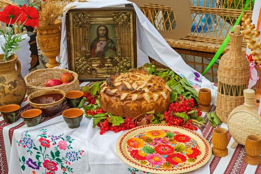 European people's table setting in national Slavic style