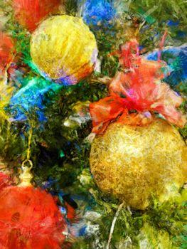 Magical multi-color Christmas tree balls painting