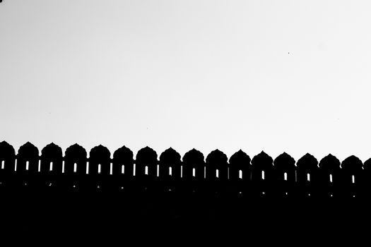 Silhouette of Lal Qila boundary - Red Fort in Delhi, India