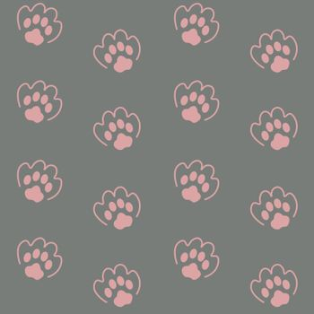 Cute animalistic seamless pattern with cat or dog paw prints on grey background